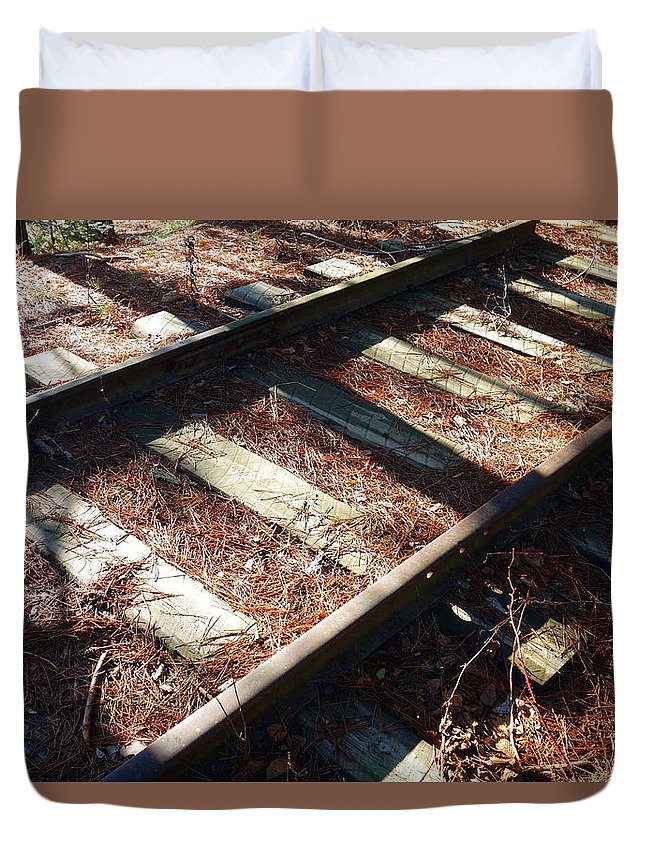 Abandoned Duvet Cover featuring the photograph Abandoned Railtracks by Valentino Visentini