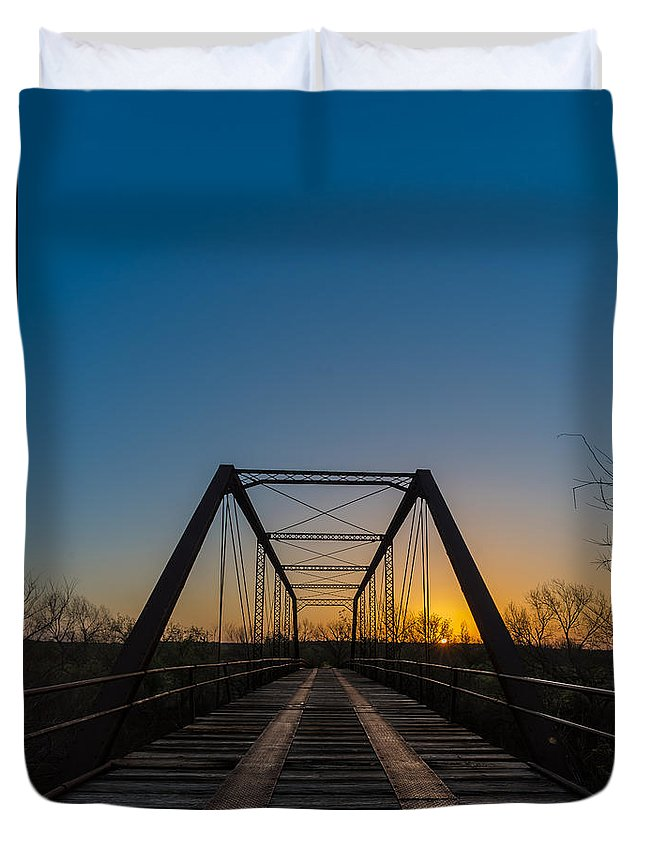 Duvet Cover featuring the photograph Abandoned Steel Bridge by David Downs