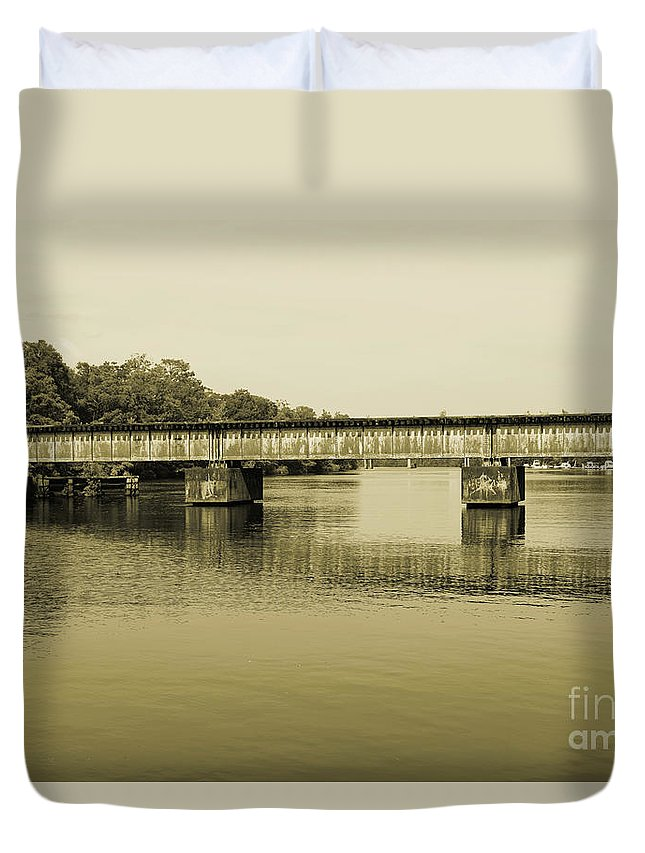 Train Duvet Cover featuring the photograph Abandoned Train Trestle by Marc Watkins
