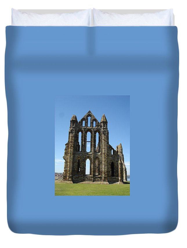 Abby Duvet Cover featuring the photograph Abbey At Whitby by Susan Baker