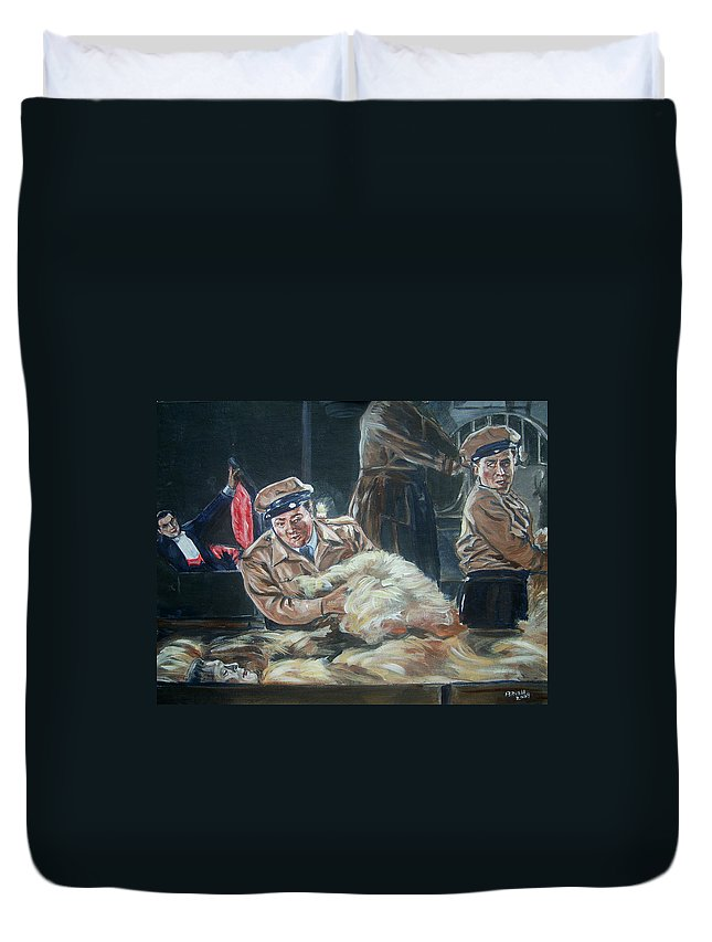 Comedy Duvet Cover featuring the painting Abbott And Costello Meet Frankenstein by Bryan Bustard