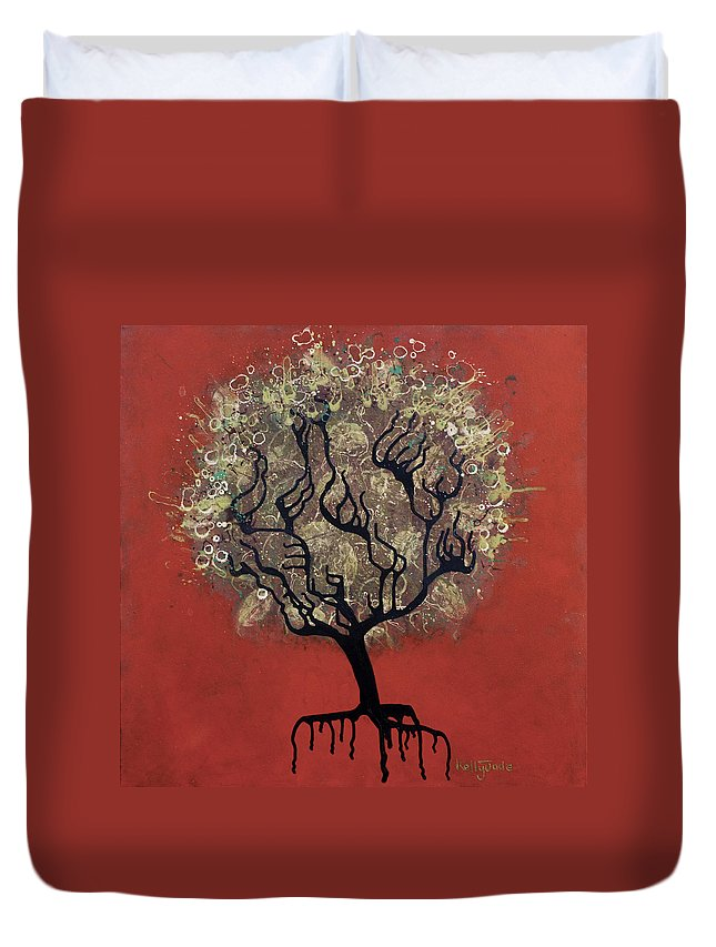 Tree Duvet Cover featuring the painting Abc Tree by Kelly Jade King