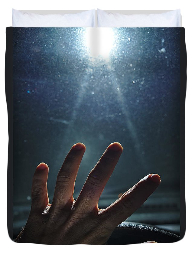 Encounter Duvet Cover featuring the photograph Abducted by Angelo DeVal