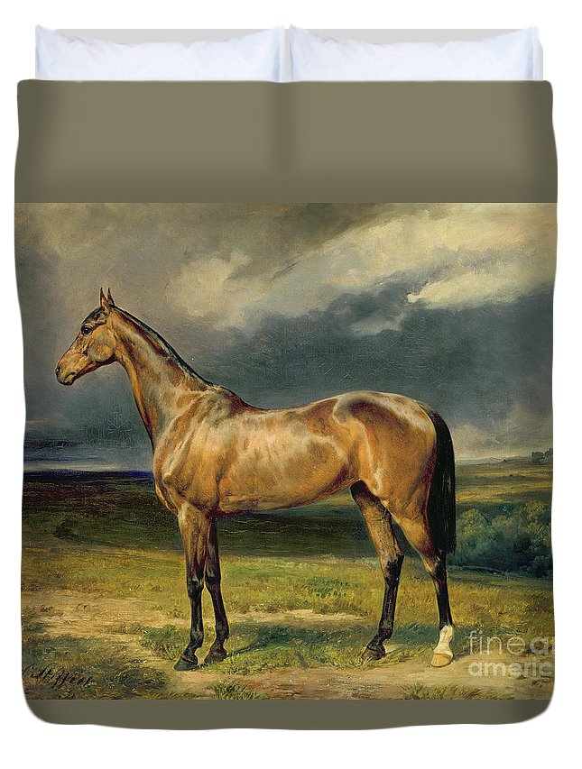 Equestrian; Portrait; Brown; Bay; Landscape; Horse Duvet Cover featuring the painting Abdul Medschid The Chestnut Arab Horse by Carl Constantin Steffeck