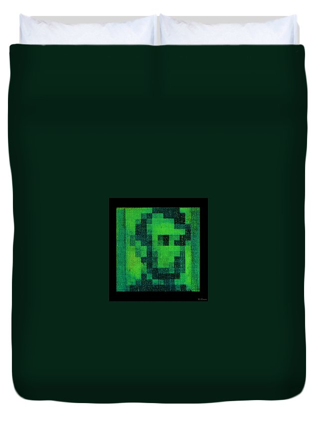 Green Duvet Cover featuring the photograph Abe In Green by Rob Hans