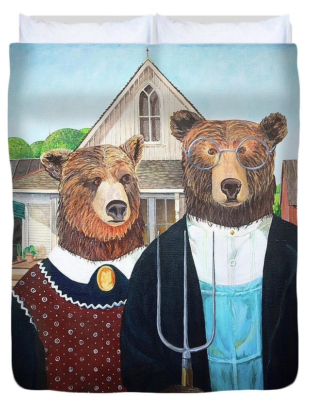 Duvet Cover featuring the digital art Abearican Gothic by Emily Cooper