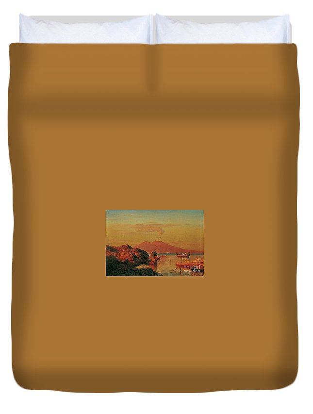 Andreas Achenbach Duvet Cover featuring the painting Abendlicher Blick Ber Den Golf Von Neapel by MotionAge Designs