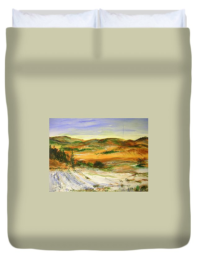 Landscape Duvet Cover featuring the painting Aberdeen Winter Landscape by Lizzy Forrester