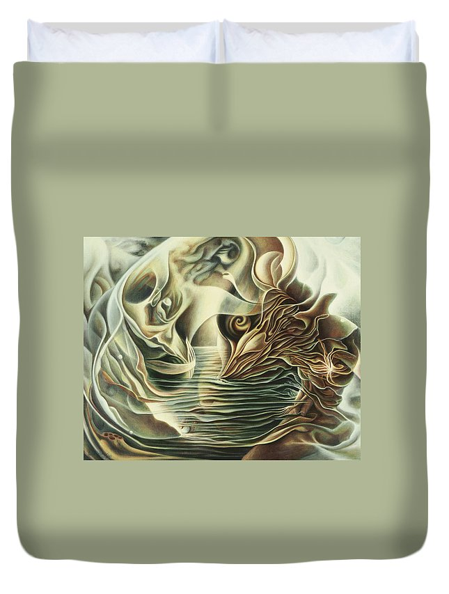 Spiritual Duvet Cover featuring the painting Abiding In by Nad Wolinska