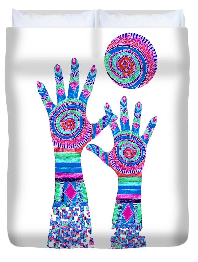 Aboriginal Hands Duvet Cover featuring the digital art Aboriginal Hands Pastel Transparent Background by Barbara St Jean