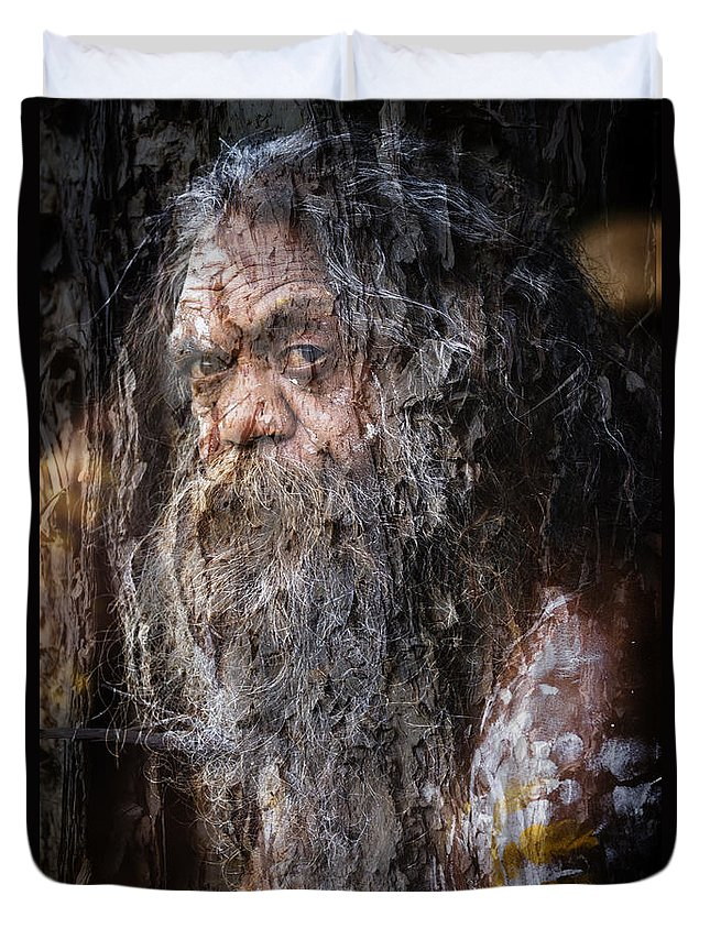 Textures Duvet Cover featuring the photograph Aboriginal with textures by Sheila Smart Fine Art Photography