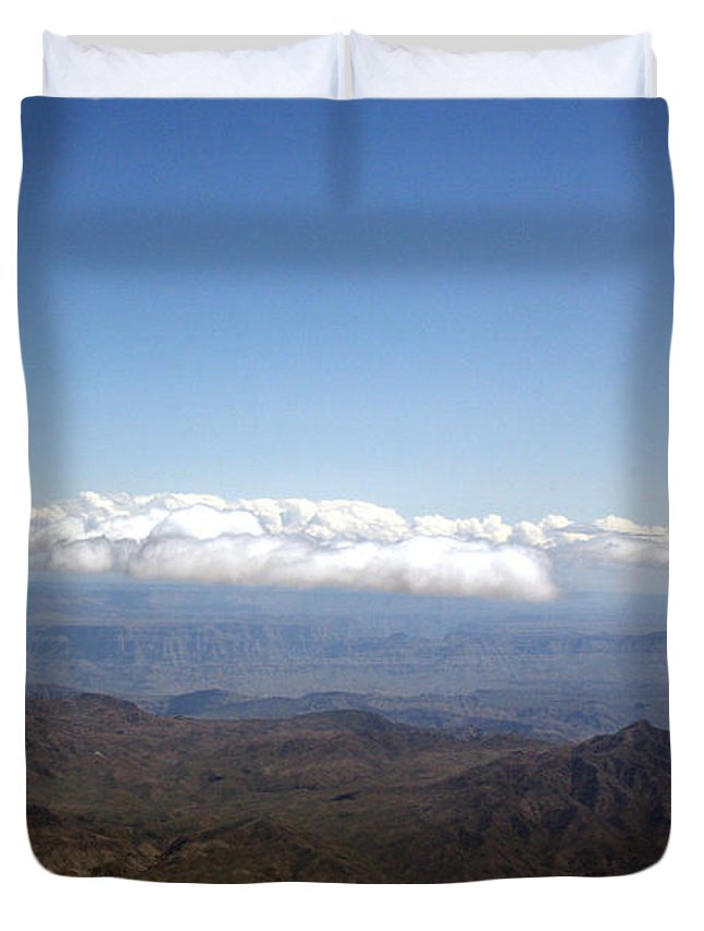 Nevada Desert Clouds Scenery Hills Landscape Sky Canyon Duvet Cover featuring the photograph Above Nevada by Andrea Lawrence
