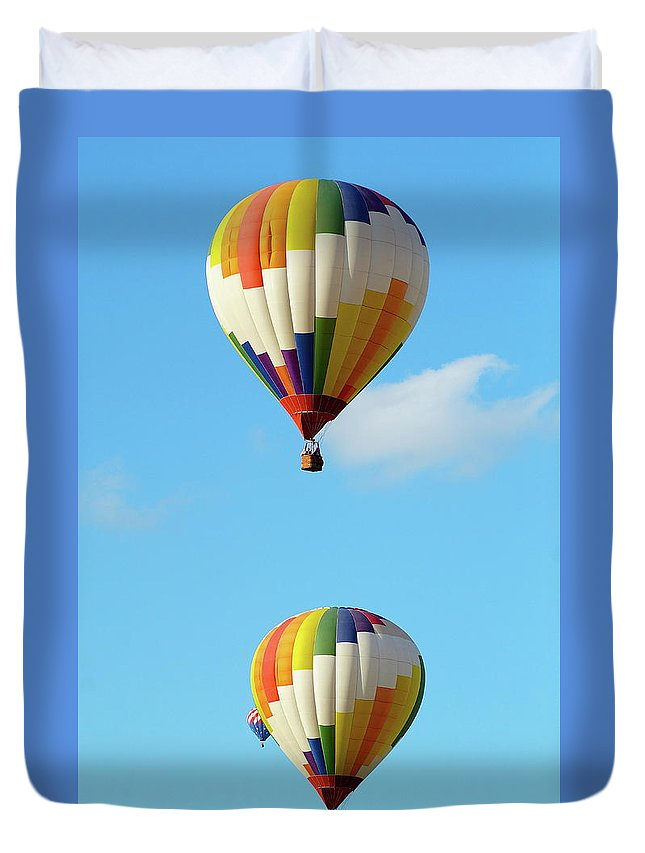 Balloons Duvet Cover featuring the photograph Above One Another by Linda Cupps