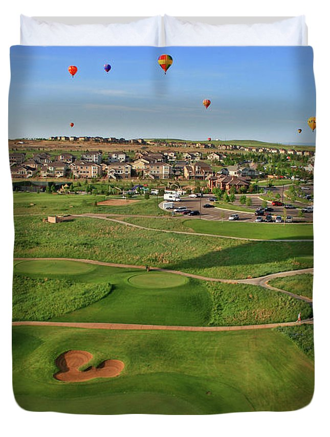 Golf Duvet Cover featuring the photograph Above The Course by Scott Mahon