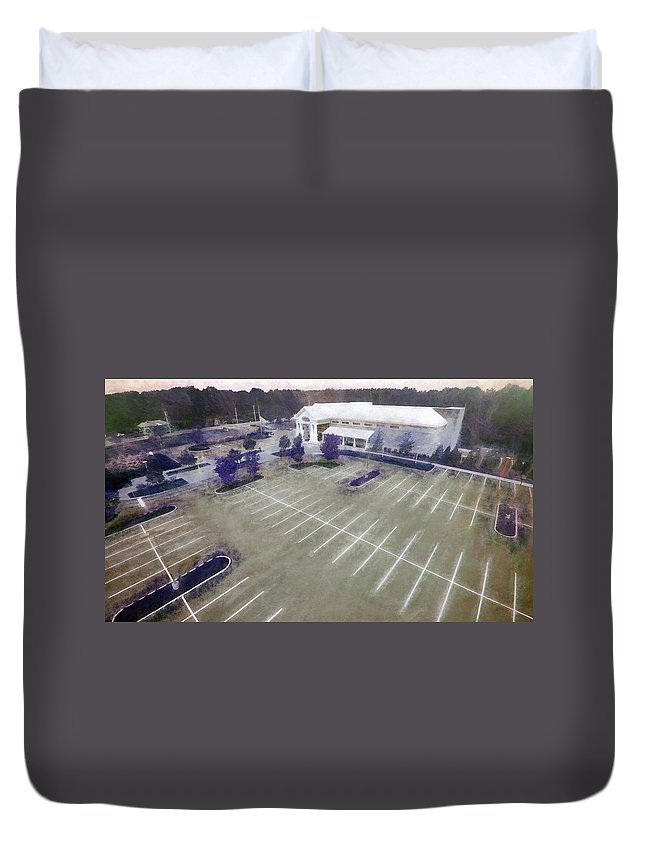 Aerial Duvet Cover featuring the photograph Above The Library II by Tina Baxter