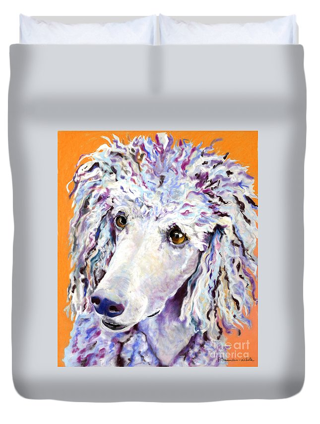 Standard Poodle Duvet Cover featuring the pastel Above The Standard  by Pat Saunders-White