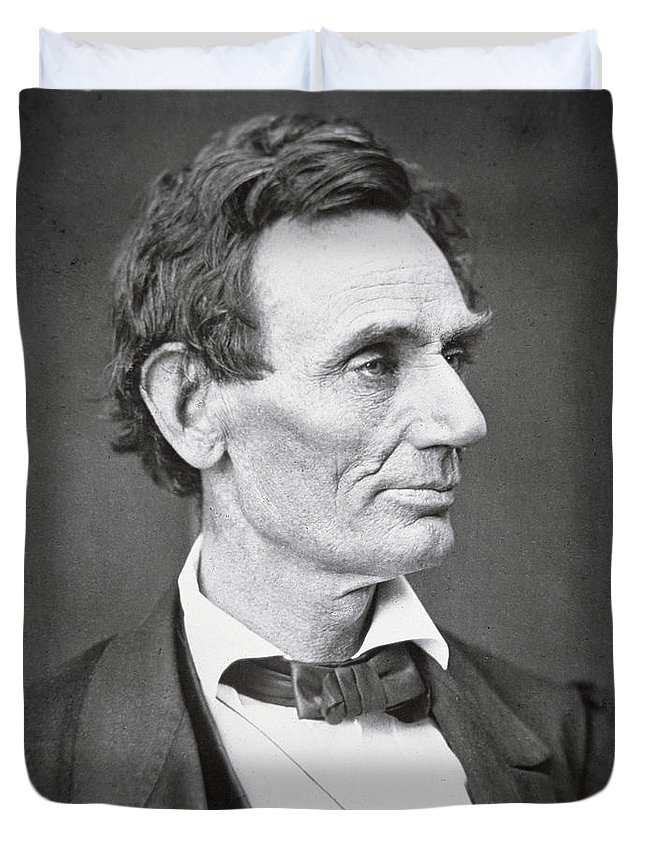 Abraham Lincoln (1809-65) 1860 (b/w Photo) By Alexander Hesler (1823-95) Duvet Cover featuring the photograph Abraham Lincoln by Alexander Hesler