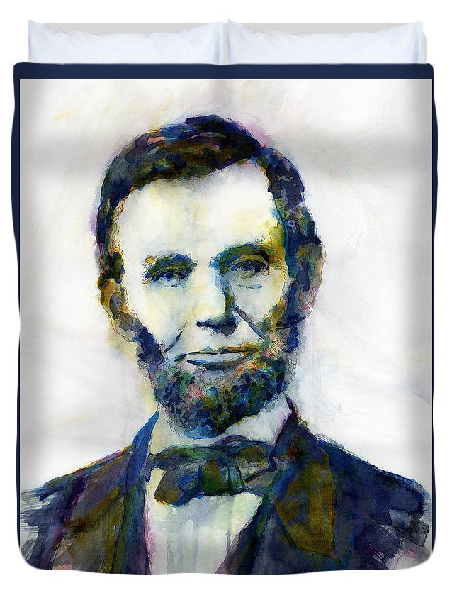 Abraham Duvet Cover featuring the painting Abraham Lincoln Portrait Study 2 by Hailey E Herrera
