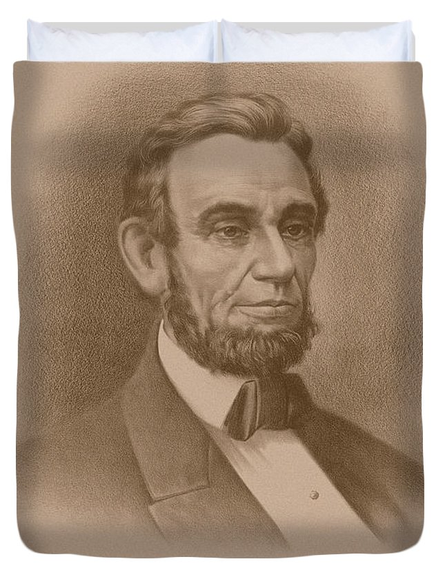 Abraham Lincoln Duvet Cover featuring the drawing Abraham Lincoln - Savior Of His Country by War Is Hell Store