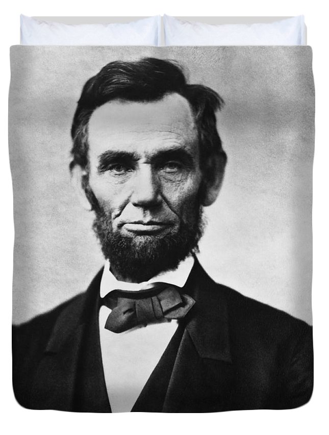 Abraham Lincoln Duvet Cover featuring the photograph Abraham Lincoln by War Is Hell Store