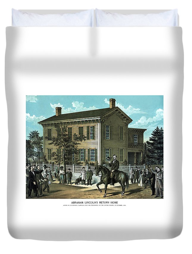 Abraham Lincoln Duvet Cover featuring the painting Abraham Lincoln's Return Home by War Is Hell Store