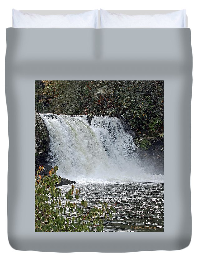 Water Falls Duvet Cover featuring the digital art Abrams Falls Cades Cove Tn by DigiArt Diaries by Vicky B Fuller