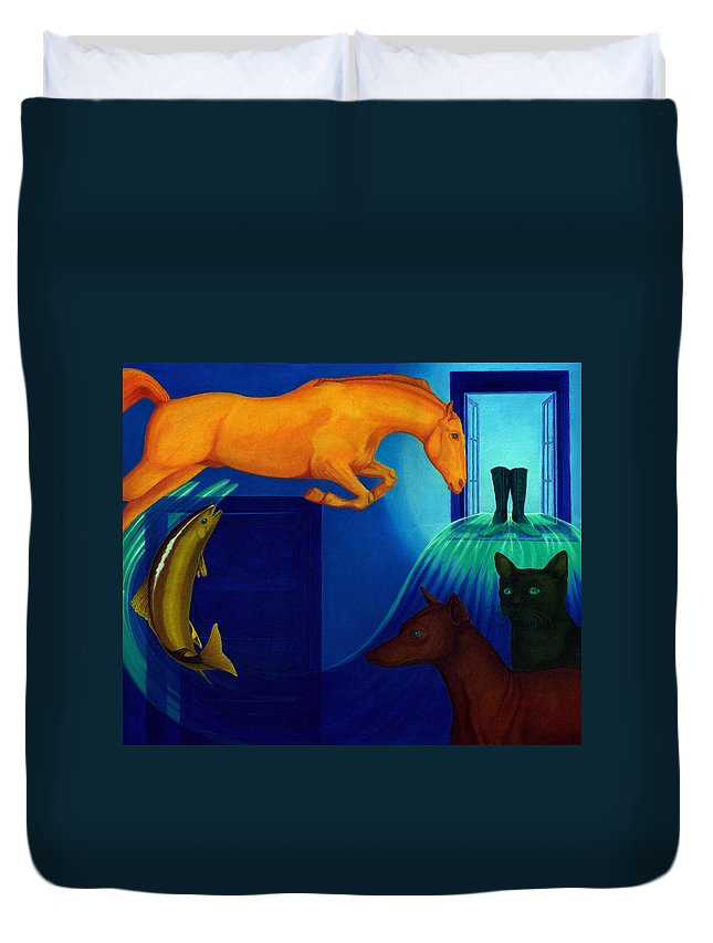 Surreal Duvet Cover featuring the painting Absence. by Andrzej Pietal