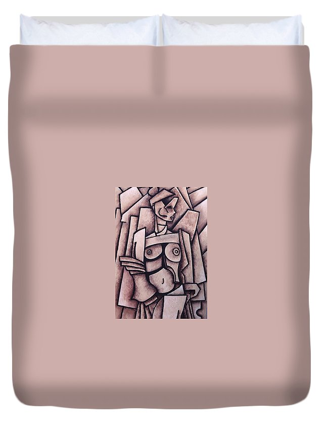 Absract Duvet Cover featuring the painting Absract Girl by Thomas Valentine