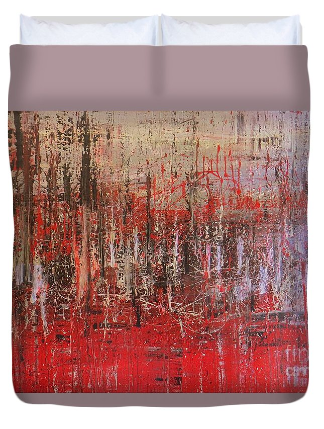 Abstrac Art Duvet Cover featuring the painting Tribute by Lalo Gutierrez