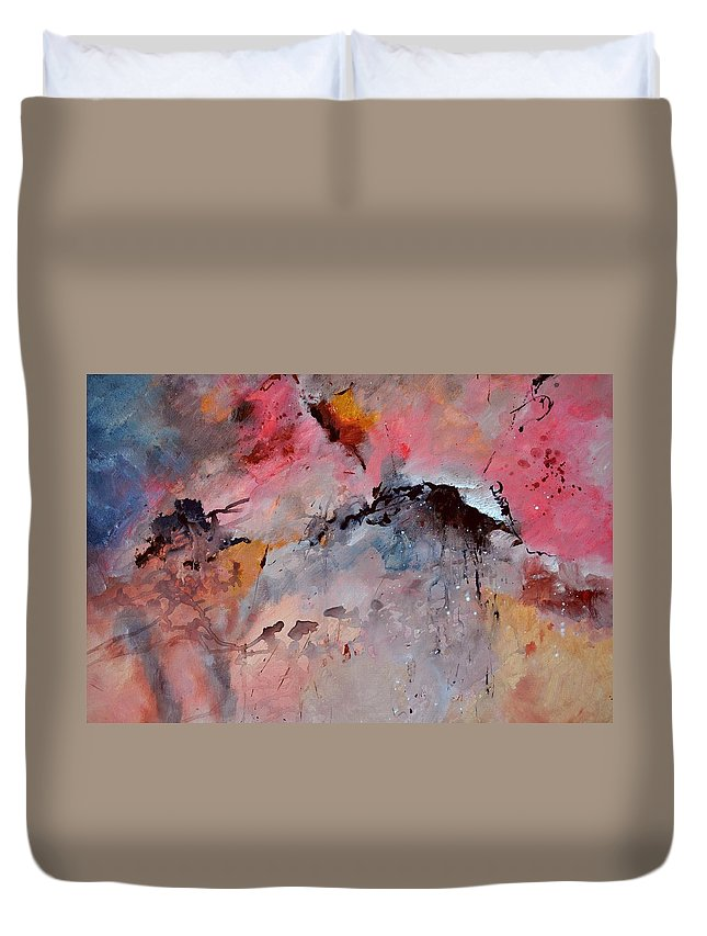 Abstract Duvet Cover featuring the painting Abstract 015082 by Pol Ledent