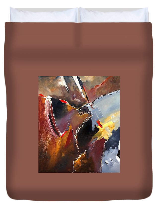 Abstract Duvet Cover featuring the painting Abstract 020606 by Pol Ledent