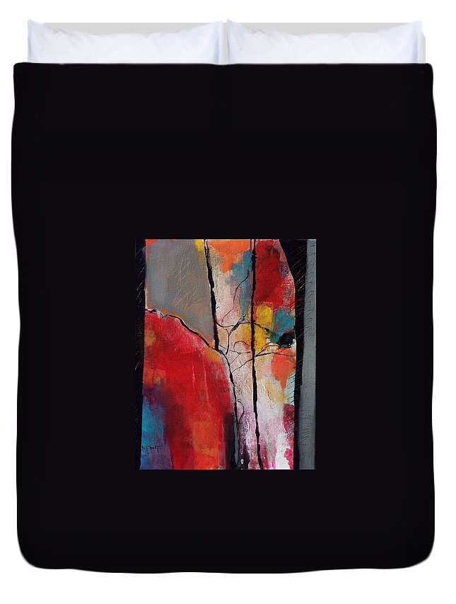 Abstract Expressionism Duvet Cover featuring the painting Abstract 050 by Donna Frost