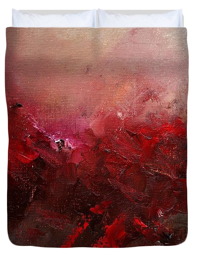 Abstract Duvet Cover featuring the painting Abstract 056 by Pol Ledent