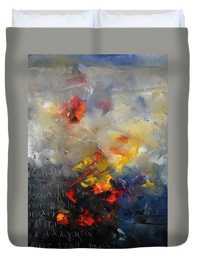 Abstract Duvet Cover featuring the painting Abstract 0805 by Pol Ledent