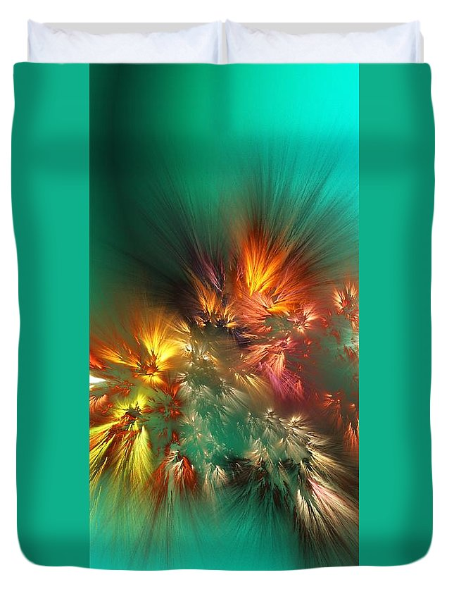 Fine Art Duvet Cover featuring the digital art Abstract 090710A by David Lane