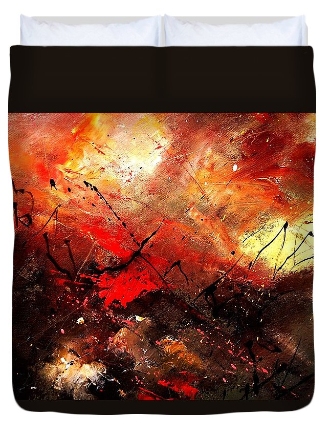 Abstract Duvet Cover featuring the painting Abstract 100202 by Pol Ledent