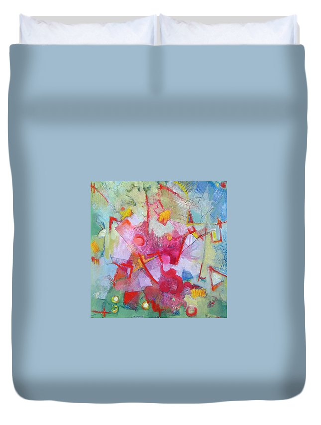 Abstract Duvet Cover featuring the painting Abstract 2 With Inscribed Red by Susanne Clark