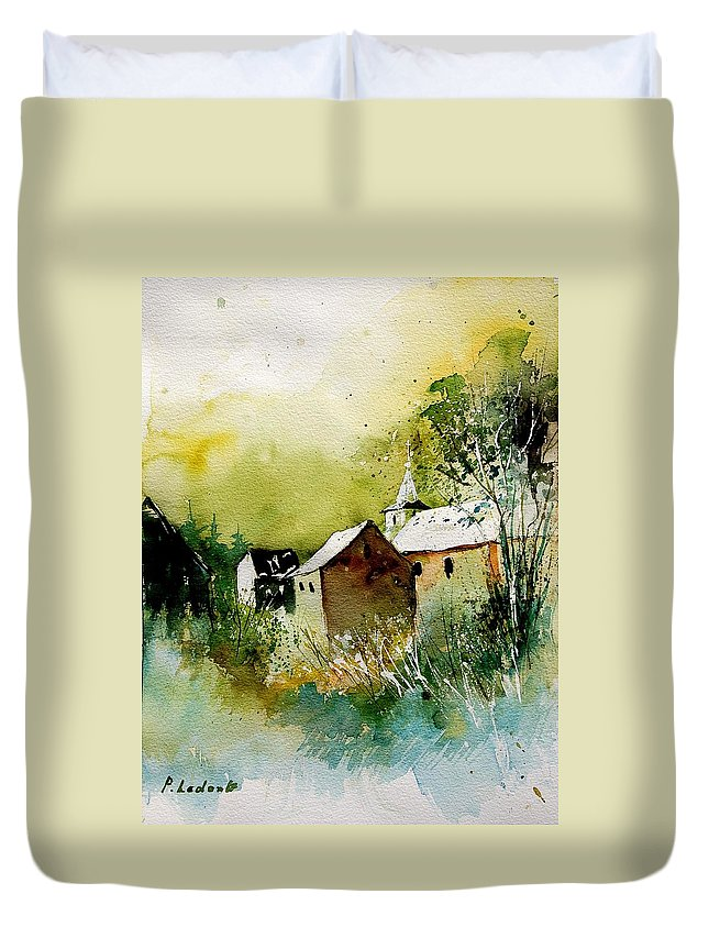 Village Duvet Cover featuring the painting Abstract 260608 by Pol Ledent