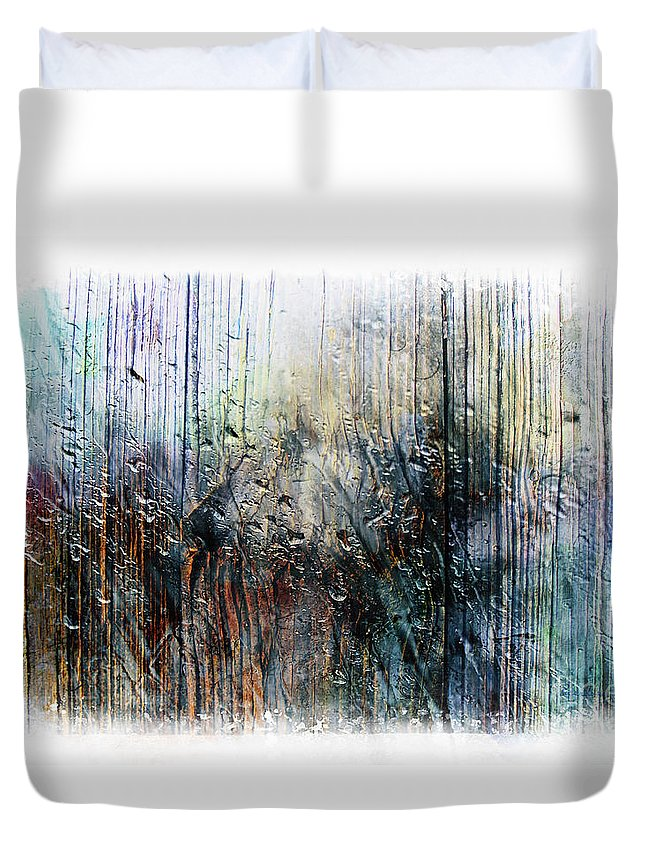 Abstract Duvet Cover featuring the painting 2f Abstract Expressionism Digital Painting by Ricardos Creations