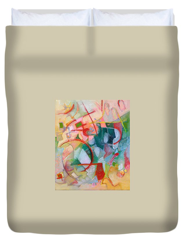Abstract Artwork Duvet Cover featuring the painting Abstract 3 by Susanne Clark