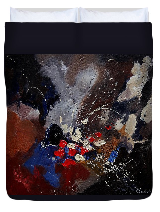 Abstract Duvet Cover featuring the painting Abstract 55900122 by Pol Ledent