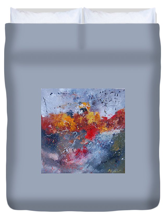 Abstract Duvet Cover featuring the painting Abstract 55902110 by Pol Ledent