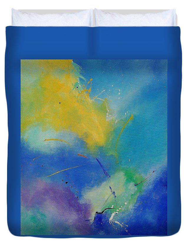 Abstract Duvet Cover featuring the painting Abstract 564897 by Pol Ledent
