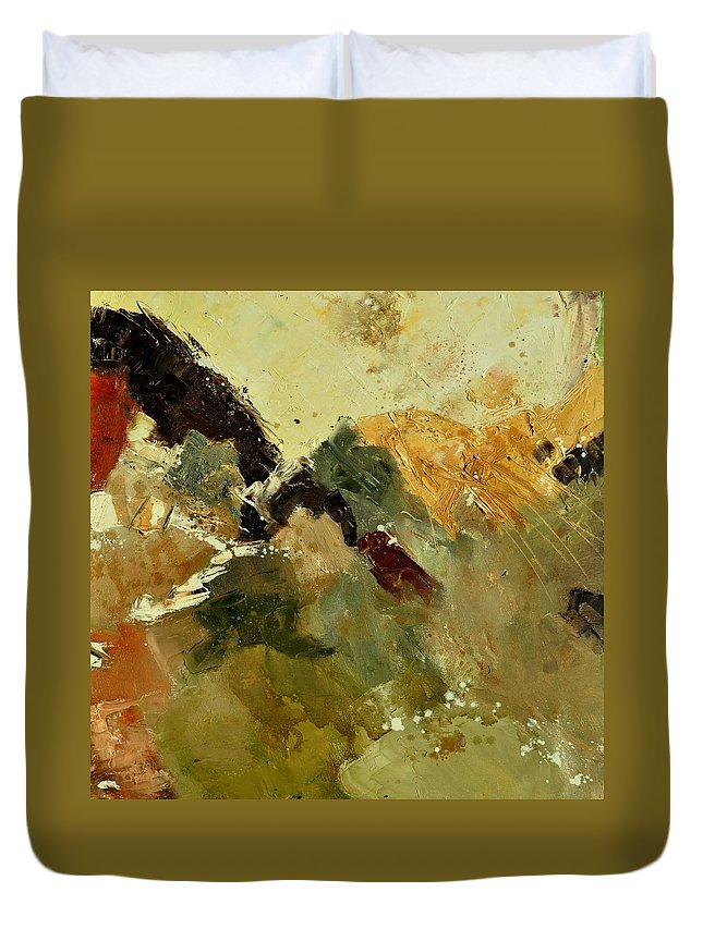 Abstract Duvet Cover featuring the painting Abstract 6601901 by Pol Ledent