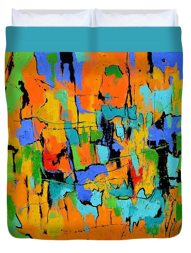Abstract Duvet Cover featuring the painting Abstract 7761701 by Pol Ledent