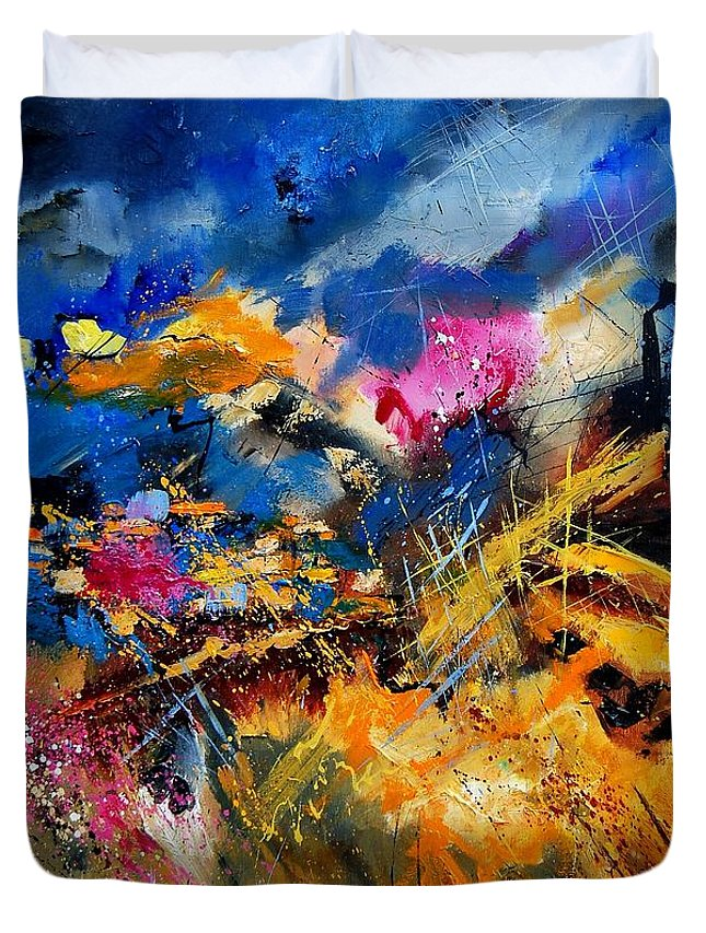 Abstract Duvet Cover featuring the painting Abstract 7808082 by Pol Ledent