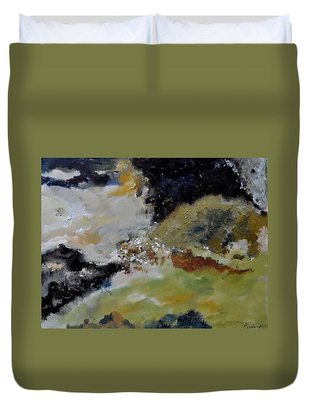 Abstract Duvet Cover featuring the painting Abstract 790180 by Pol Ledent