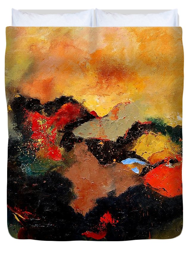 Abstract Duvet Cover featuring the painting Abstract 8080 by Pol Ledent