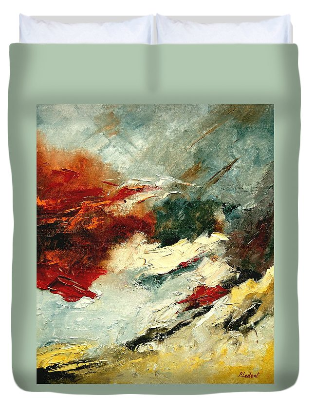 Abstract Duvet Cover featuring the painting Abstract 9 by Pol Ledent