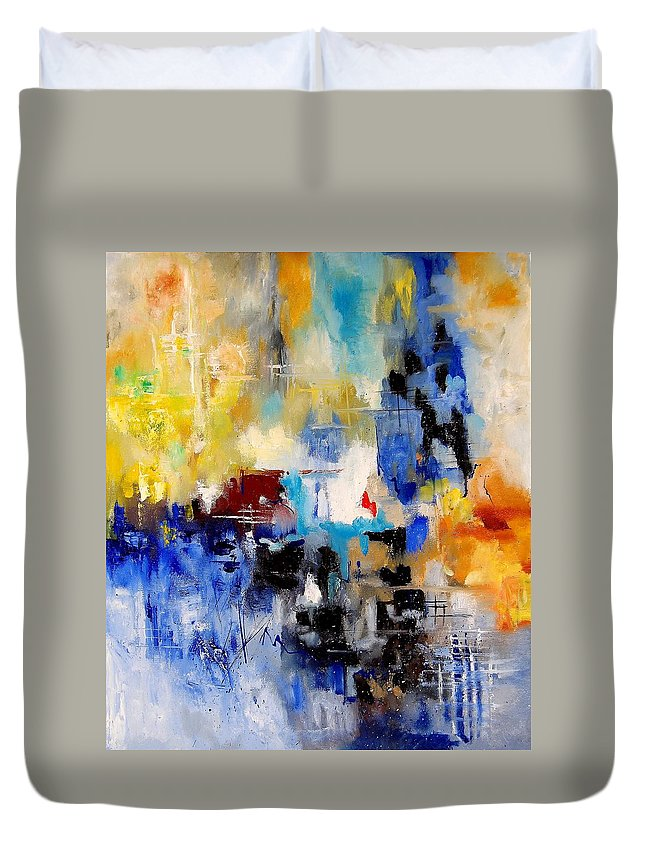 Abstract Duvet Cover featuring the painting Abstract 900003 by Pol Ledent
